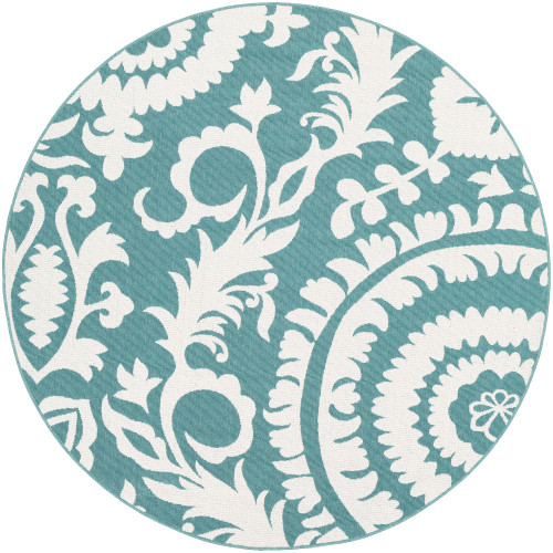 """8'9"""" Floral Teal and White Round Machine Woven Olefin Area Throw Rug - IMAGE 1"""