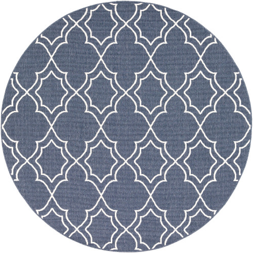 """8'9"""" Trellis Patterned Charcoal Blue and White Round Olefin Area Throw Rug - IMAGE 1"""
