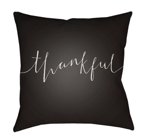 """18"""" Black and White Thankful Printed Square Throw Pillow Cover - IMAGE 1"""