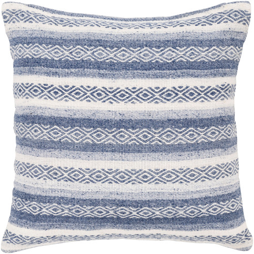"""30"""" White and Blue Geometric Patterned Square Throw Pillow - Polyester Filler - IMAGE 1"""