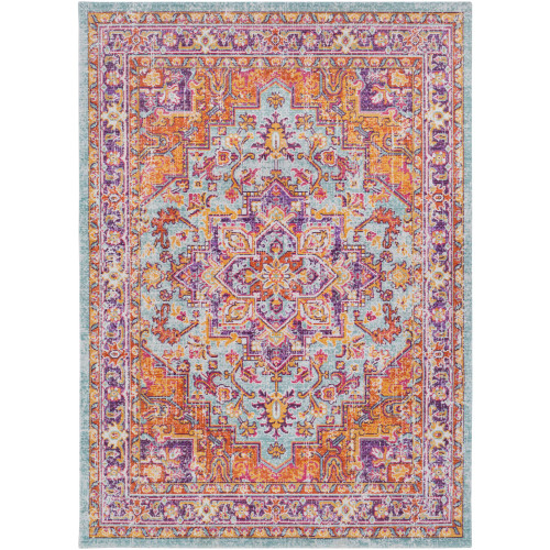 5.25' x 7' Floral Patterned Orange and Blue Rectangular Area Throw Rug - IMAGE 1