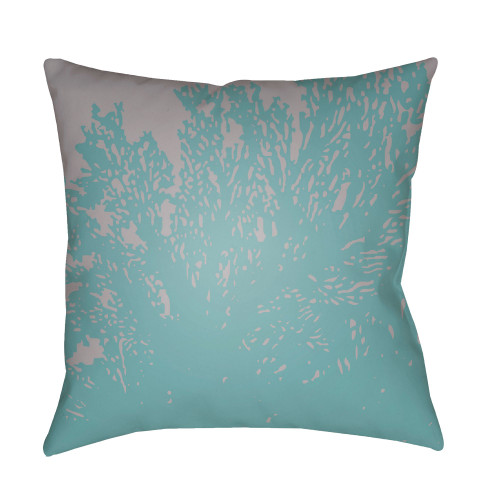 """18"""" Teal Blue and Gray Square Throw Pillow Cover with Knife Edge - IMAGE 1"""