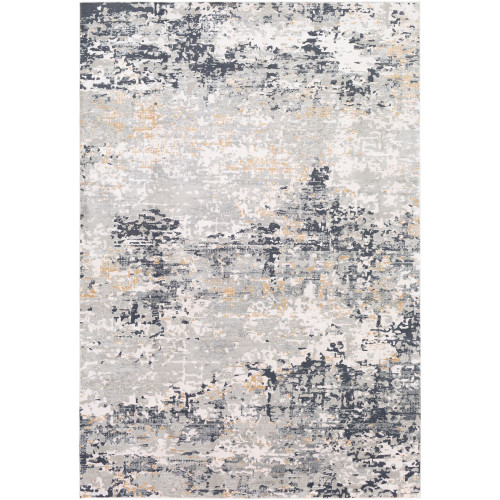 2.5' x 5' Abstract Patterned Gray and Black Rectangular Area Throw Rug - IMAGE 1