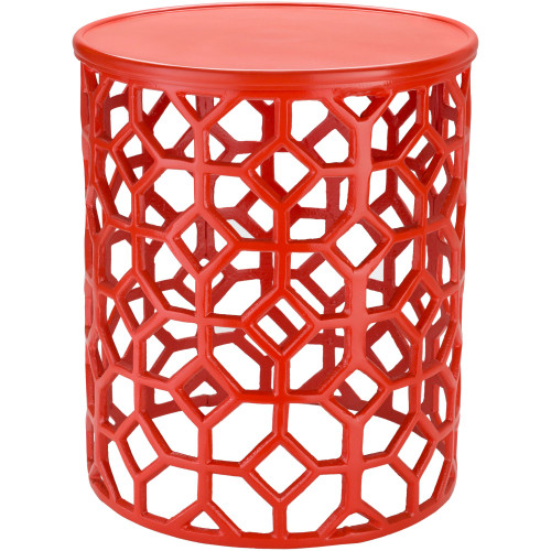 "16.5"" Transitional Style Bright Orange Round Accent Table - IMAGE 1"