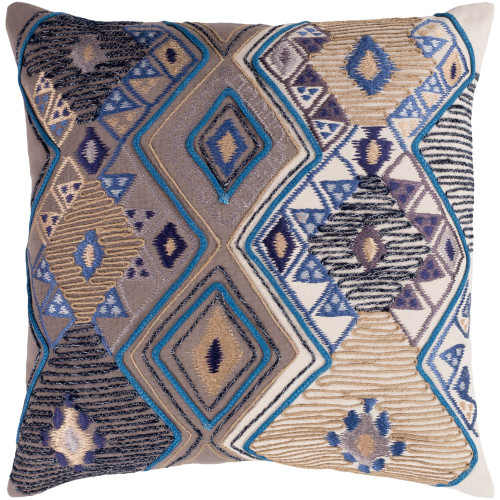 """22"""" Peanut Brown and Blue Embroidered Square Throw Pillow - Poly Filled - IMAGE 1"""