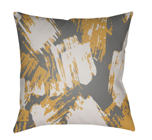 """18"""" Mustard Yellow and White Digitally Printed Square Throw Pillow Cover - IMAGE 1"""