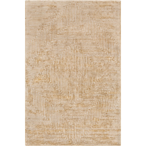 5' x 7.5' Geometric Patterned Tan Brown and Beige Rectangular Area Throw Rug - IMAGE 1