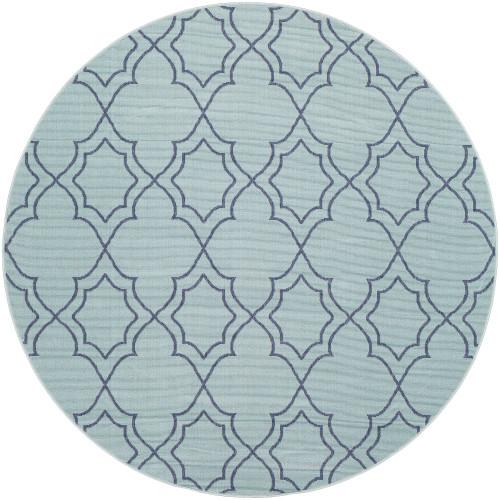 "8'9"" Trellis Patterned Aqua Blue and Gray Round Olefin Area Throw Rug - IMAGE 1"