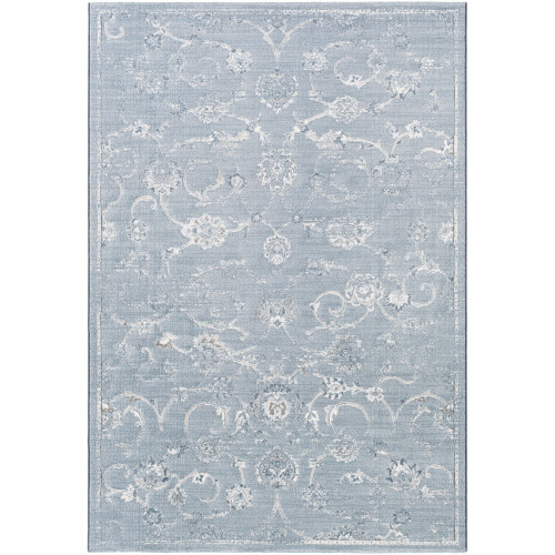 5.7' x 7.6' Traditional Blue and Gray Rectangular Area Throw Rug - IMAGE 1
