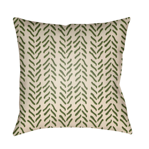 """18"""" Green and Beige Textures Printed Square Throw Pillow Cover - IMAGE 1"""