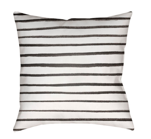 """18"""" White and Black Striped Square Throw Pillow Cover with Knife Edge - IMAGE 1"""