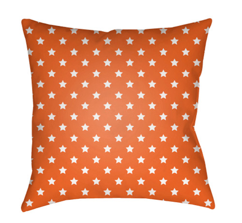 "18"" Orange and White Star Printed Square Throw Pillow Cover with Knife Edge - IMAGE 1"
