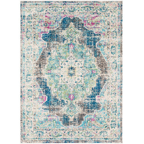 """3'11"""" x 5'7"""" Distressed Persian Design Blue and White Rectangular Machine Woven Area Rug - IMAGE 1"""