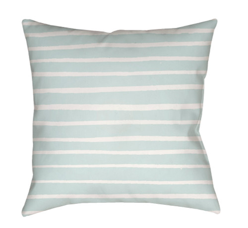 "18"" Blue and White Striped Square Throw Pillow Cover with Knife Edge - IMAGE 1"