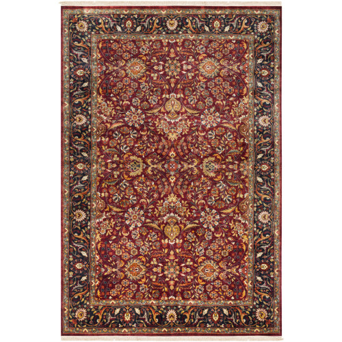2' x 3' Floral Brown and Black Hand Knotted New Zealand Wool Rectangular Area Throw Rug - IMAGE 1