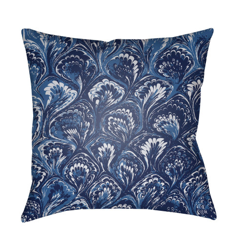 """18"""" Navy Blue and White Textures Printed Square Throw Pillow Cover - IMAGE 1"""