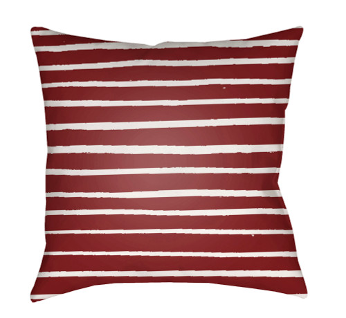"""18"""" Red and White Striped Square Throw Pillow Cover with Knife Edge - IMAGE 1"""