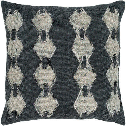 """20"""" Gray and Beige Square Woven Batik Embroidered Throw Pillow - Down Filler - IMAGE 1"""