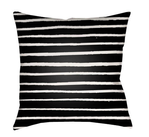 """18"""" Black and White Striped Square Throw Pillow Cover with Knife Edge - IMAGE 1"""