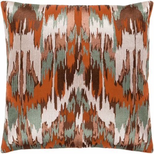 """22"""" Green and Orange Embroidered Square Throw Pillow with Knife Edge - Poly Filled - IMAGE 1"""