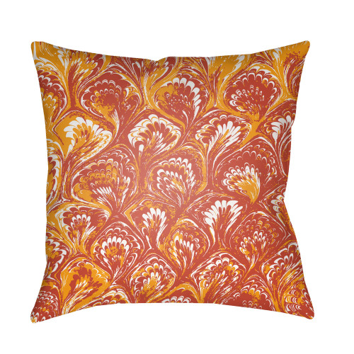 """18"""" Yellow and Red Textures Printed Square Throw Pillow Cover - IMAGE 1"""