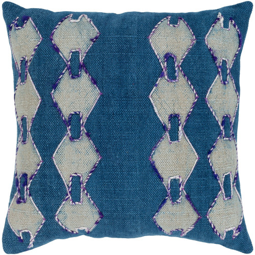 """20"""" Blue and Beige Square Woven Batik Embroidered Throw Pillow - Down Filler - IMAGE 1"""