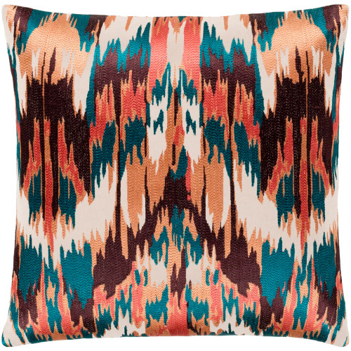 """22"""" Brown and Orange Embroidered Square Throw Pillow with Knife Edge - Poly Filled - IMAGE 1"""