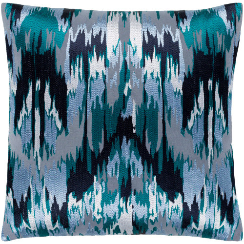 """22"""" Pale Blue and Teal Blue Embroidered Square Throw Pillow with Knife Edge - Poly Filled - IMAGE 1"""