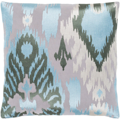 "22"" Pale Blue and Gray Embroidered Square Throw Pillow with Knife Edge - Poly Filled - IMAGE 1"