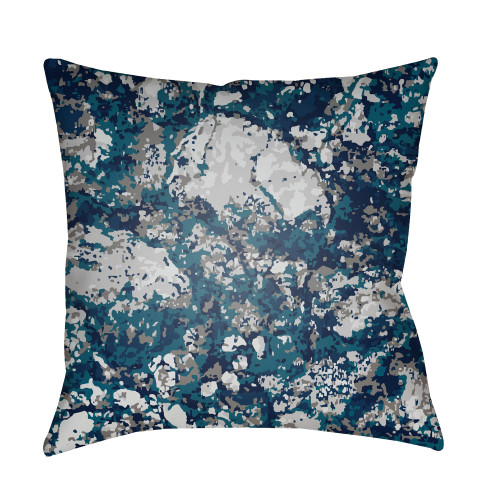 """18"""" Blue and Gray Square Throw Pillow Cover with Knife Edge - IMAGE 1"""