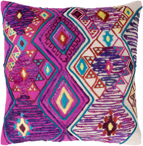 """20"""" Bright Purple and Pink Embroidered Square Throw Pillow Cover - IMAGE 1"""