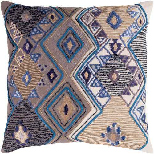 """20"""" Brown and Blue Embroidered Square Throw Pillow Cover - IMAGE 1"""