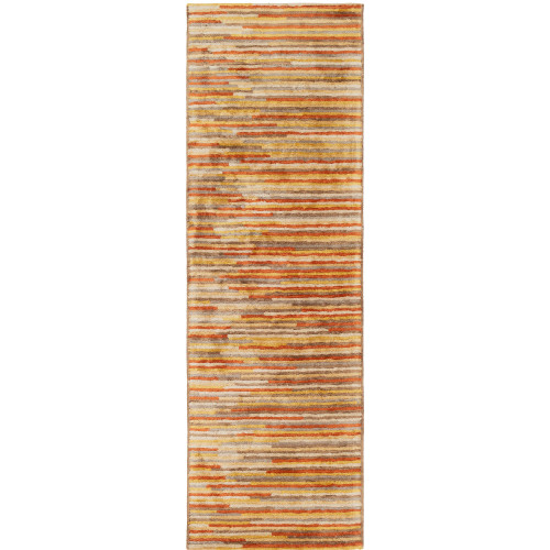 """2'6"""" x 10' Abstract Striped Orange and Yellow Hand Tufted Viscose Area Throw Rug Runner - IMAGE 1"""