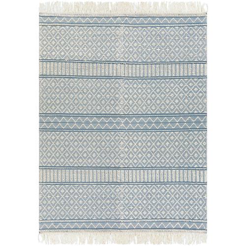 8' x 10' Geometric Design Blue and White Rectangular Area Throw Rug - IMAGE 1
