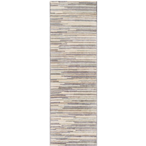 "2'6"" x 10' Abstract Striped Beige and Brown Hand Tufted Viscose Area Throw Rug Runner - IMAGE 1"