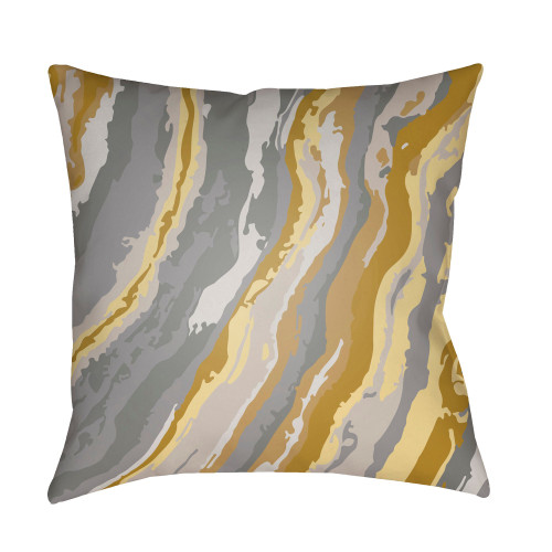 """18"""" Yellow and Gray Square Throw Pillow Cover with Knife Edge - IMAGE 1"""