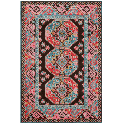 4' x 6' Geometric Tribal Pattern Pink and Teal Rectangular Polyester Area Throw Rug - IMAGE 1