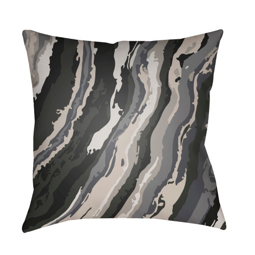 "18"" Black and Navy Gray Square Throw Pillow Cover with Knife Edge - IMAGE 1"