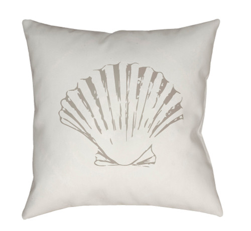 """18"""" White and Gray Shell Printed Square Throw Pillow Cover - IMAGE 1"""