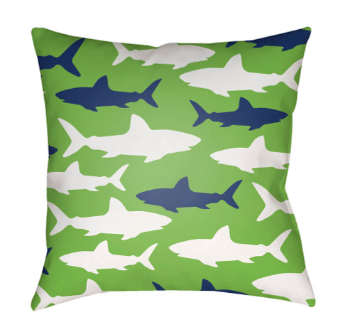 """18"""" Green and White Shark Printed Square Throw Pillow Cover with Knife Edge - IMAGE 1"""