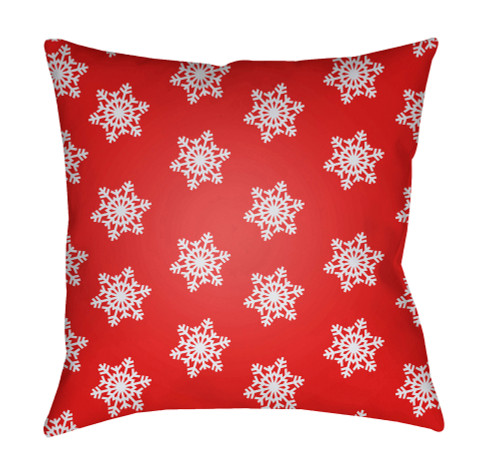 """18"""" Red and White Snowflake Printed Square Throw Pillow Cover with Knife Edge - IMAGE 1"""