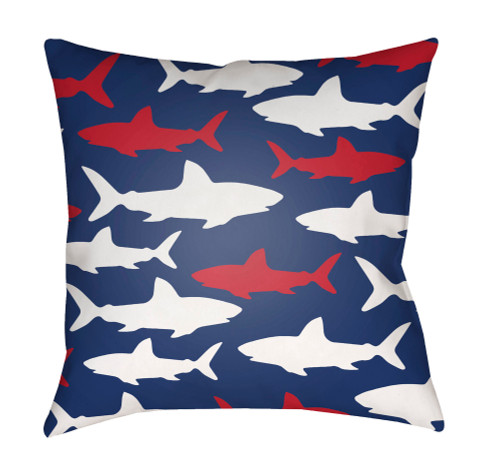 """18"""" Blue and Red Shark Printed Square Throw Pillow Cover with Knife Edge - IMAGE 1"""