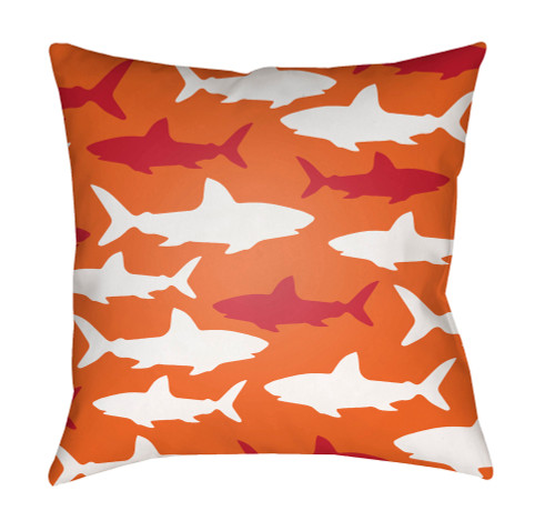 """18"""" Orange and White Shark Printed Square Throw Pillow Cover with Knife Edge - IMAGE 1"""