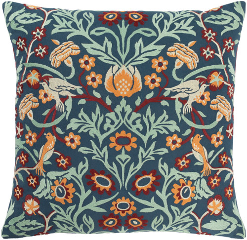 """20"""" Navy Blue and Red Floral Square Throw Pillow Cover - IMAGE 1"""
