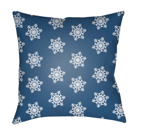 "18"" Blue and White Printed Square Throw Pillow Cover with Knife Edge - IMAGE 1"