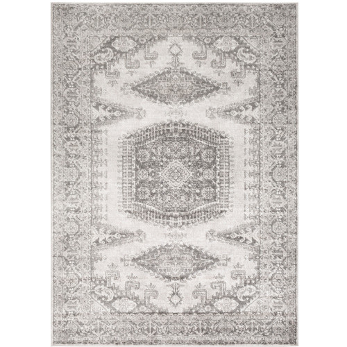 """5'3"""" x 7'3"""" Distressed Brown and White Persian Floral and Paisley Pattern Rectangular Synthetic Area Rug - IMAGE 1"""