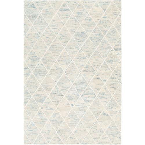 6' x 9' Ivory and Blue Diamond Patterned Rectangular Hand Tufted Area Rug - IMAGE 1