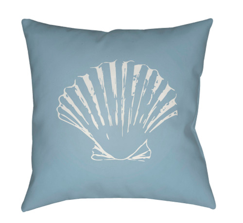 """18"""" Blue and Ivory Seashell Printed Square Throw Pillow Cover - IMAGE 1"""