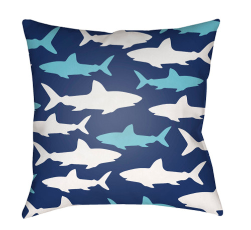 """18"""" Blue and White Shark Printed Square Throw Pillow Cover with Knife Edge - IMAGE 1"""