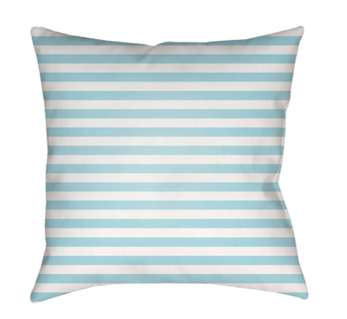 """18"""" Pale Blue and White Striped Square Throw Pillow Cover with Knife Edge - IMAGE 1"""
